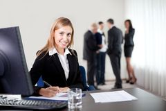 Closeup portrait of elegant young business woman Stock Photos