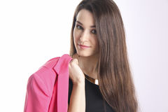 Closeup Portrait of an  elegant young woman in office suit Stock Image