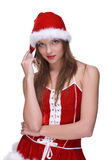 Closeup portrait of emotional girl in santa dress Stock Photography