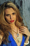 Closeup portrait of fashion model with full hair and red lips Stock Images