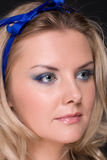 Closeup portrait of fashion woman with blue bow Royalty Free Stock Images