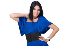 Closeup portrait of fashion woman in blues Stock Photography