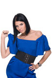 Closeup portrait of fashion woman in blues Royalty Free Stock Photos