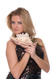 Closeup portrait of fashion woman with shell Royalty Free Stock Photography