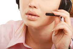 Closeup portrait of female customer service representative or ca Royalty Free Stock Photo