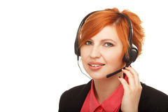 Closeup portrait of female customer service representative  Royalty Free Stock Photos