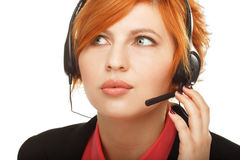 Closeup portrait of female customer service representative Royalty Free Stock Photo