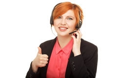 Closeup portrait of female customer service representative Royalty Free Stock Image