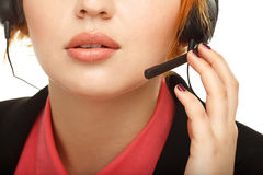 Closeup portrait of female customer service representative Royalty Free Stock Photography