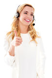 Closeup portrait of female customer service representative wearing headset. Stock Photos