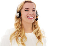 Closeup portrait of female customer service representative wearing headset. Stock Photo