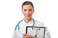 Closeup portrait of female doctor with clipboard Stock Photos