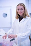 Closeup portrait of a female researcher Stock Images