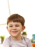 Closeup portrait of five year old kid stock images