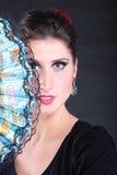 Closeup portrait of flamenco dancer fan Stock Photography