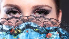 Closeup portrait of flamenco dancer fan Stock Images
