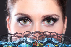 Closeup portrait of flamenco dancer fan Stock Image