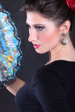 Closeup portrait of flamenco dancer fan Stock Photo