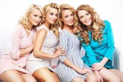 Closeup portrait of the four girlfriends Stock Images