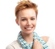 Closeup portrait of fresh woman. With short gingerish hair, smiling Royalty Free Stock Image