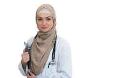 Closeup portrait of friendly, smiling confident Muslim female doctor celebrating success Stock Photo