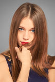 Closeup portrait of friendly smiling teenage girl looking to the Royalty Free Stock Photo