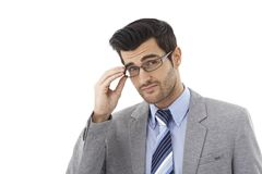 Closeup portrait of frowning businessman Stock Images