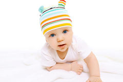 Closeup portrait of funny baby crawls Royalty Free Stock Photos