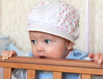 Closeup portrait of funny baby girl Stock Images