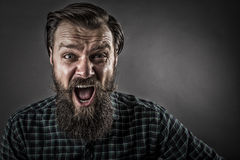 Closeup portrait of a furious  man yelling Royalty Free Stock Photography