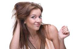 Closeup portrait of girl with clear makeup Stock Photos