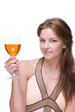 Closeup portrait of girl with glass of alcohol Stock Images