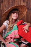 Closeup portrait of girl in hat Stock Photos