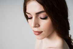 Portrait of a girl with long eyelashes royalty free stock images