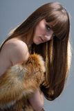 Closeup portrait of glamour young girl with beautiful long hair Stock Photos