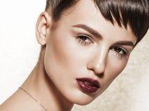 Closeup portrait of gorgeous brunette with elegant makeup Royalty Free Stock Photo