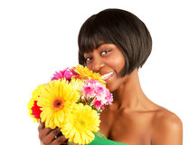 African woman with spring flowers Royalty Free Stock Photos