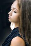 Closeup portrait of gorgeous young brunette girl. Stock Photos