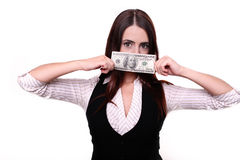 Closeup portrait greedy young woman corporate business employee,. Worker, student holding dollar banknotes tightly, isolated white background. Negative human Royalty Free Stock Images