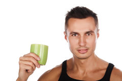 Closeup portrait of guy with cup. Closeup portrait of caucasian guy with cup,mug, isolated on white Stock Photos