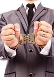 Closeup portrait of a  handcuffed hands. Royalty Free Stock Photo
