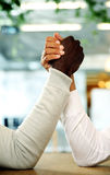Closeup portrait of hands grappled. In fight Royalty Free Stock Photography