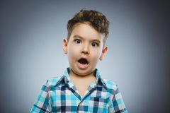 Closeup Portrait of handsome boy with astonished expression on grey background Royalty Free Stock Photography