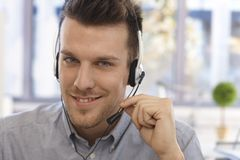 Closeup portrait of handsome dispatcher Stock Images