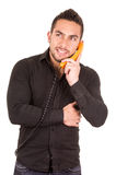Closeup portrait of handsome hispanic man talking Stock Images
