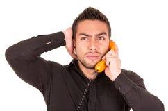 Closeup portrait of handsome hispanic man talking Royalty Free Stock Photo
