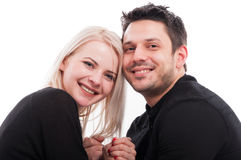 Closeup portrait of handsome male and beautiful woman stock photos