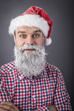 Closeup portrait of a handsome man with frozen beard wearing san Royalty Free Stock Photography