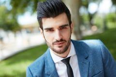 Closeup portrait of handsome man outdoors Stock Photo