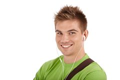 Closeup portrait of handsome young guy stock image